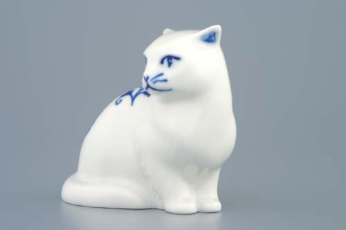 Cibulák mačka sediaci 8 cm cibulový porcelán, originálny cibulák Dubí