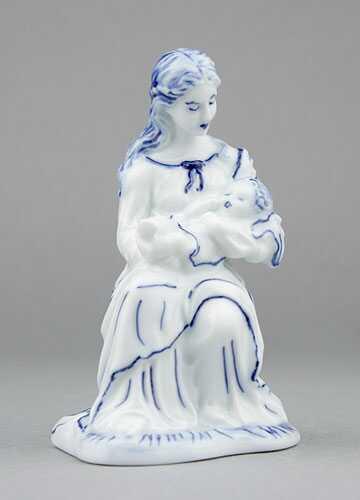 Cibulák soška Panna Mária 12 cm cibulový porcelán, originálny cibulák Dubí