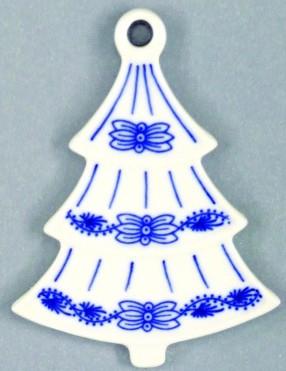 Cibulák vianočná ozdoba / obojstranná - stromček 8,5 x 6,3 cm cibulový porcelán, originálny cibulák Dubí 1. akosť