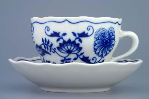 Cibulák šálka a podšálka B+B 0,20 l cibuľový porcelán, originálny cibulák Dubí, 1. akosť