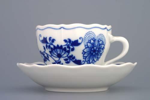 Cibulák šálka + podšálka A / 2 + B 0,17 l cibuľový porcelán, originálny cibuľák Dubí