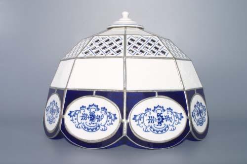 Cubulák tienidlo vitráž mriežkované / deväť stien 35 cm cibulový porcelán, originálny cibulák Dubí 1. akosť