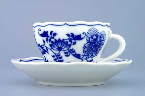 Cibulák šálka + podšálka A / 1 + ZA / 1 (zrkadlová podšálka) 0,12l cibulový porcelán, originálny cibulák Dubí 1. akosť