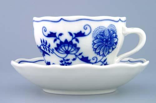 Cibulák šálka a podšálka B + ZB (zrkadlová podšálka) 0,20 l cibulový porcelán, originálny cibulák Dubí 1. akosť