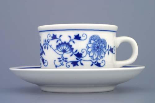 Cibulák šálka a podšálka BEN B + ZB (zrkadlová podšálka) 0,23 l cibulový porcelán, originálny cibulák Dubí 1. akosť