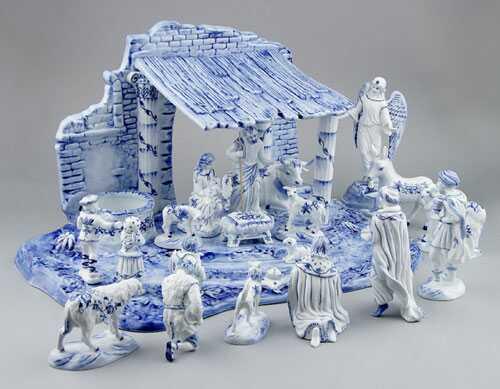Cibulák Betlem s kobaltu cibulákový porcelán, originál cibulák Dubí, 1. akosť