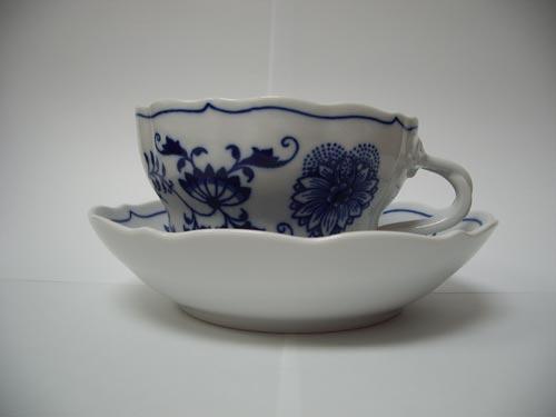 Cibulák šálka a podšálka D+D 0,35 l cibulový porcelán originálny cibulák Dubí 1. akosť
