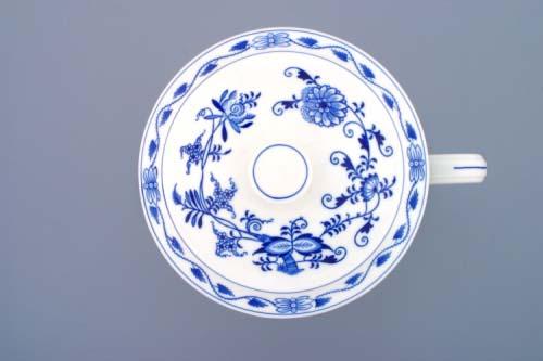 Cibulák hrnček Český s jedným uchom a vekom, bez výrezu 3,0 l cibuľový porcelán, originálny cibuľák Dubí, 1. akosť