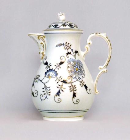 Cibuláková kanvica kávová s viečkom, originál cibulák pozlátený cibulový porcelán, originálny cibulák Dubí 1. akosť