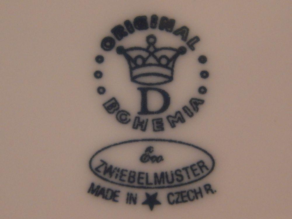 Cibuláková podšálka bujón - ECO cibulák 17,5 cm cibulový porcelán, originálny cibulák Dubí 1. akosť