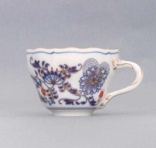 Cibuláková šálka vysoká A / 1 - originálny cibulák pozlátený s dekoráciou rubín cibulový porcelán, originálny cibulák Dubí 1. akosť