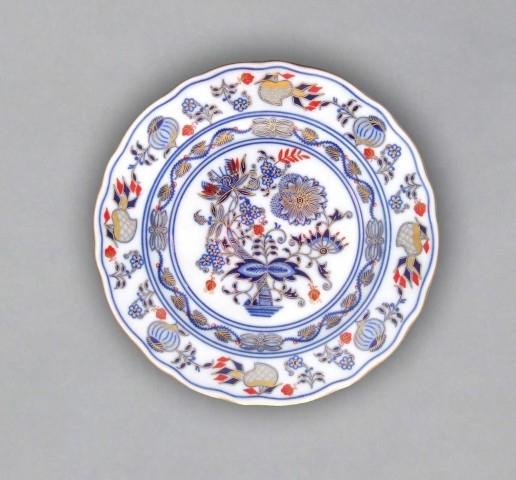 Cibulákový tanier dezertný originálny cibulák pozlátený s dekoráciou rubín cibulový porcelán, originálny cibulák Dubí 1. akosť